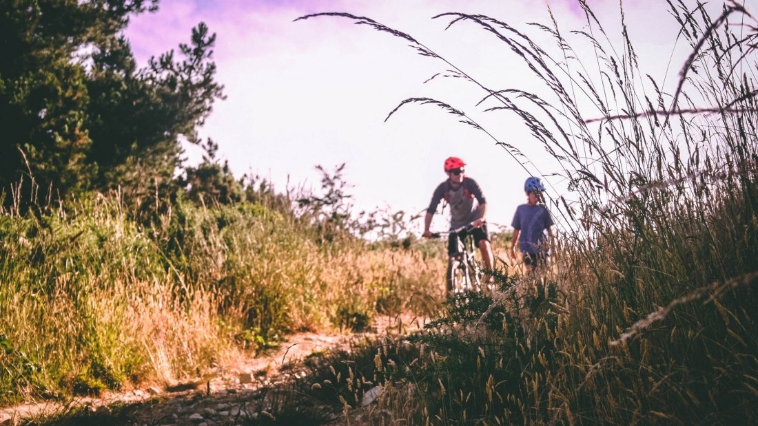 two-bikers-on-bush-lined-path-733739